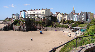 View of Castle Sands and South Beach from the footpath around Castle Hill