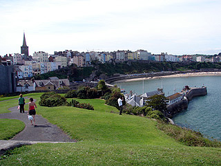 Tenby and its harbour from Castle Hill