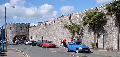 Part of the town wall and Five Arches, Tenby