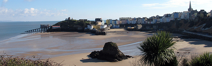 Tenby Harbour and town seen from the cliff top gardens in front of Croft Court